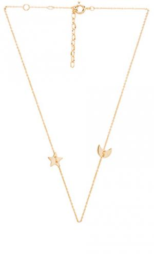 Star & moon choker joolz by Martha Calvo. Цвет: metallic gold