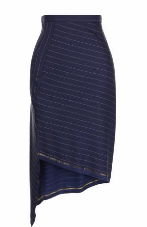 Мини-юбка асимметричного кроя в полоску Aquilano Rimondi. Цвет: синий