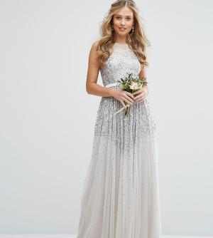Amelia Rose Сетчатое платье макси с отделкой пайетками. Цвет: серый