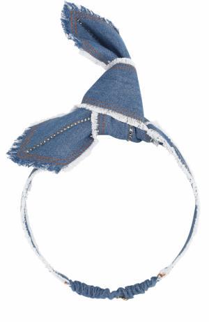 Повязка для волос с бантом и стразами Colette Malouf. Цвет: голубой