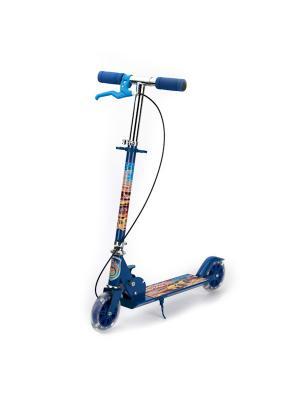 Самокат 2-колесный. стальной, колеса пвх 125 мм, с ручным тормозом, нагрузка до 25 кг. Next. Цвет: синий