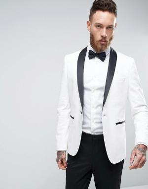ASOS Белый узкий пиджак-смокинг с контрастными лацканами. Цвет: белый