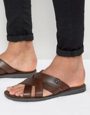 Base London Кожаные сандалии. Цвет: коричневый