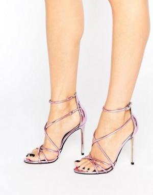 Office Розовые зеркальные сандалии на каблуке с ремешками Spindle. Цвет: розовый