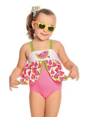 Купальник для девочек слитный Arina. Цвет: розовый,белый