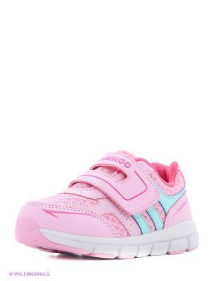 Кроссовки Flamingo. Цвет: голубой, розовый, белый