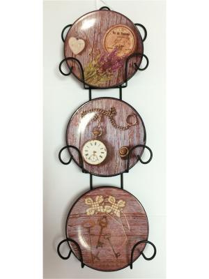 Набор из 3-х тарелок декор-ых наст-ых фаянса Magic Home. Цвет: коричневый