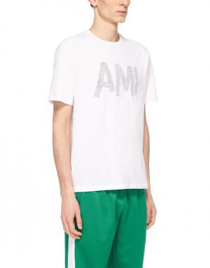 Хлопковая футболка Ami. Цвет: белый