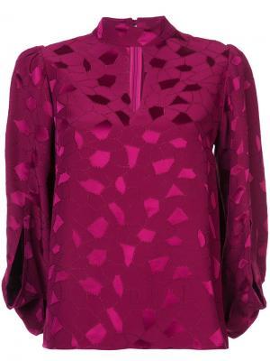 Блузка с вырезом капелькой и вышивкой Co. Цвет: розовый и фиолетовый