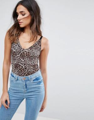 Minimum Боди с леопардовым принтом. Цвет: коричневый