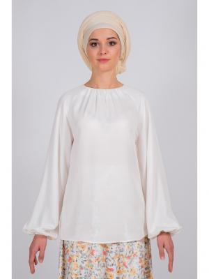 Блуза с пышным рукавом Bella kareema. Цвет: молочный