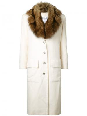 Detachable fur collar coat Chanel Vintage. Цвет: белый