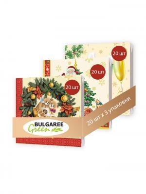 Набор новогодний Мишки из 3 упаковок трехслойных салфеток с ярким принтом, 3х20шт Bulgaree Green. Цвет: бежевый, красный, зеленый