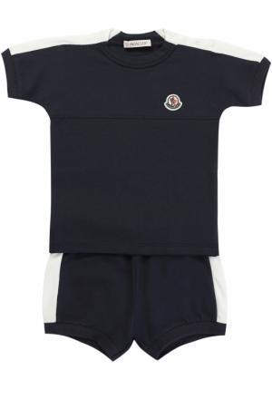 Комплект из футболки и шорт эластичного хлопка с контрастной отделкой Moncler Enfant. Цвет: темно-синий