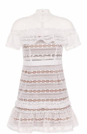 Кружевное мини-платье с коротким рукавом self-portrait. Цвет: белый
