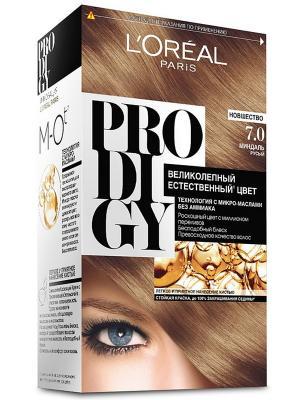 Краска для волос Prodigy без аммиака, оттенок 7.0, Миндаль L'Oreal Paris. Цвет: светло-бежевый, белый, черный