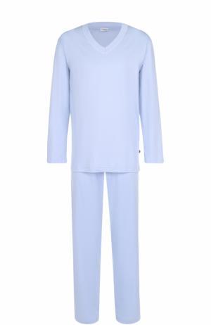 Хлопковая пижама с брюками Zimmerli. Цвет: светло-голубой