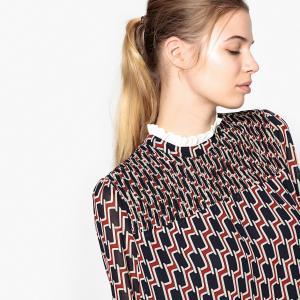 Платье короткое с рисунком и длинными рукавами SUNCOO. Цвет: рисунок темно-синий/красный
