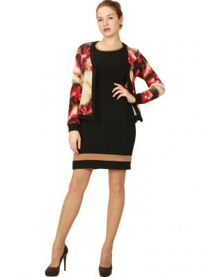 Платье + кардиган Lamiavita. Цвет: бежевый, красный, черный
