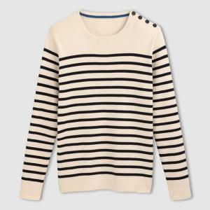 Пуловер в полоску 100% хлопка, с круглым вырезом и пуговицами на плечах R essentiel. Цвет: в полоску экрю/темно-синий
