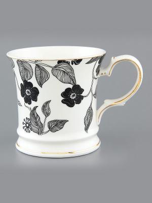 Кружка Черный цветок на белом Elan Gallery. Цвет: белый, черный