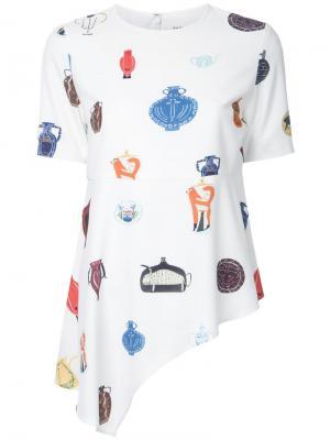 Асимметричная футболка с принтом ваз Taro Horiuchi. Цвет: белый