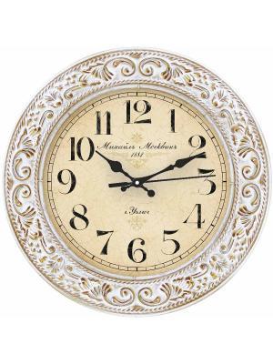 Часы настенные Михаилъ Москвинъ. Цвет: белый, зеленый, золотистый