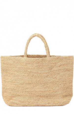 Плетеная сумка Walata из рафии Sans-Arcidet. Цвет: бежевый