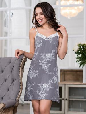 Ночная сорочка MIA-MELLA. Цвет: серый, белый