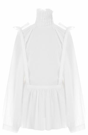 Хлопковая блуза свободного кроя с воротником-стойкой Ann Demeulemeester. Цвет: белый