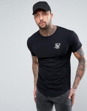 SikSilk Черная облегающая футболка. Цвет: черный
