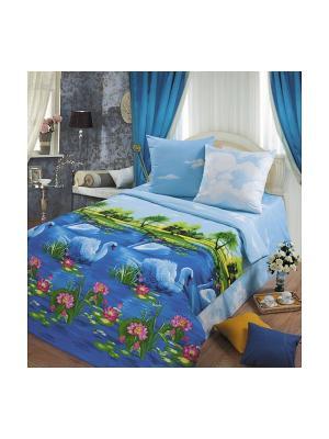Постельное белье Романтика. Цвет: голубой, синий, темно-синий