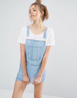Local Heroes Платье-футболка с принтом джинсового сарафана. Цвет: синий