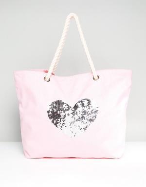 South Beach Хлопковая пляжная сумка с сердцем из пайеток. Цвет: розовый
