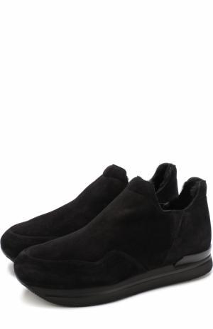 Замшевые кроссовки с внутренней отделкой из овчины Hogan. Цвет: черный