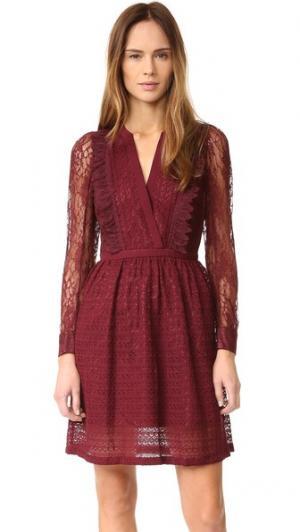Кружевное платье Multi The Kooples. Цвет: красный
