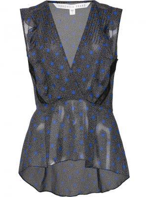Блузка с V-образным вырезом Veronica Beard. Цвет: чёрный