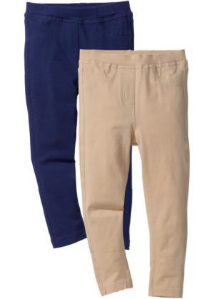 Леггинсы под джинсы (2 пары в упаковке) (ночная синь + песочный) bonprix. Цвет: ночная синь + песочный