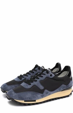 Замшевые кроссовки Starland с текстильной вставкой на шнуровке Golden Goose Deluxe Brand. Цвет: синий