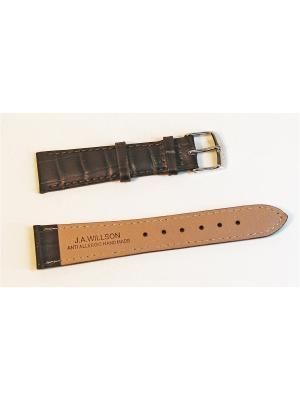 Ремень для часов, им.аллигатора, темно-коричневый, 18 х 14 мм J.A. Willson. Цвет: темно-коричневый