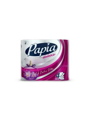 Туалетная бумага белая с ароматом и рисунком Papia Deluxe Dolce Vita четырёхслойная, 4 шт. Цвет: белый