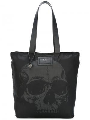 Skull print tote bag John Varvatos. Цвет: чёрный