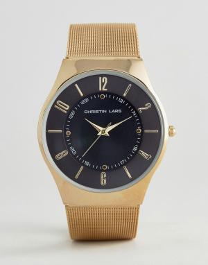 Christin Lars Золотистые часы с круглым черным циферблатом. Цвет: золотой
