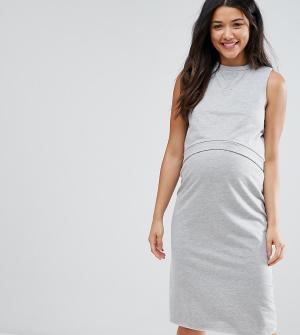 ASOS Maternity - Nursing Двухслойное трикотажное платье для беременных и кормящих Maternit. Цвет: серый