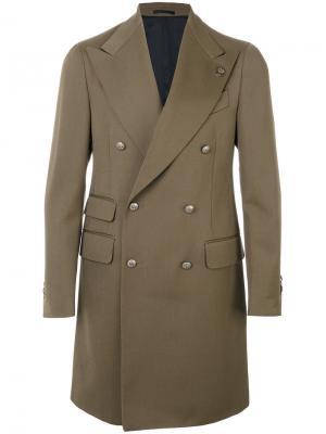 Двубортное пальто Gabriele Pasini. Цвет: зелёный