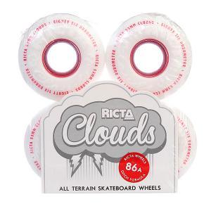 Колеса для скейтборда  Clouds Red 86A 53 mm Ricta. Цвет: белый,красный