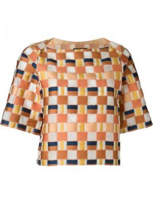Блузка с вышивкой в клетку Cristiano Burani. Цвет: жёлтый и оранжевый