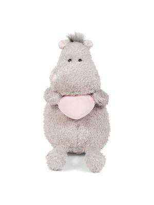 Мягкая Игрушка Бегемот с Розовым Сердцем, 25 см MAXITOYS. Цвет: серый, бледно-розовый