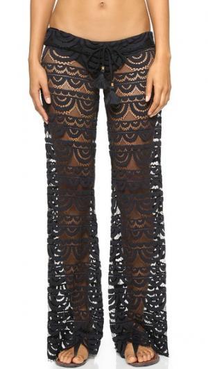 Кружевные брюки Malibu PilyQ. Цвет: голубой