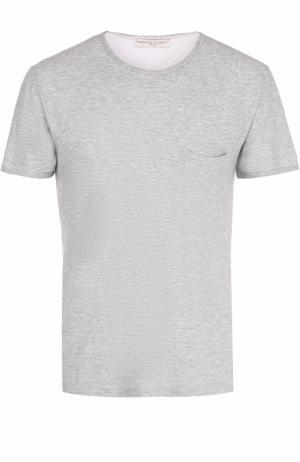 Хлопковая футболка с нагрудным карманом Daniele Fiesoli. Цвет: серый
